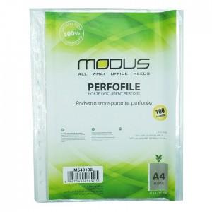 Rame de 100 pochettes perforées transparentes A4 MODUS 40 Mic