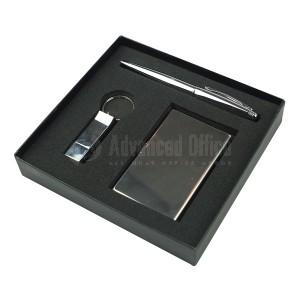 Coffret Luxe RIDEX 3 pièces (Port carte visite + Stylo roller OXFORD Métallique + Porte clé Flash disque 16Go) Chromé