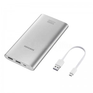 Power Bank SAMSUNG 10 000mAh Charge rapide 15W, Double USB 2A - 5V/ 1.67A - 9V, Micro USB, Argent