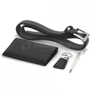 Coffret 5 pièces VERTEX ( P.cheque + stylo + P. clé + ceinture + P.feuille) V7601-1N noir