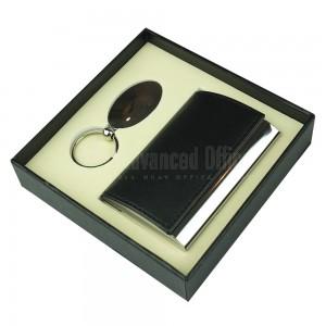 Coffret RIDDEX 2 pièces (Porte carte visite Noir, Porte clé chromé Multi formes)
