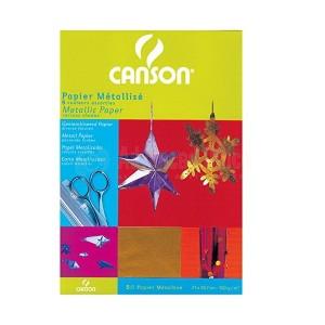 Papier métallisé CANSON 5 Feuilles couleurs assorties 21 x 29.7cm 100g  -  Advanced Office Algérie