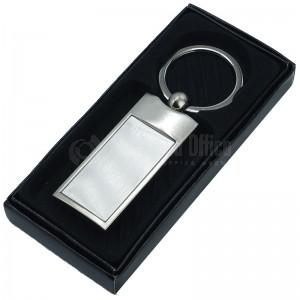 Porte clé métallique rectangulaire argenté