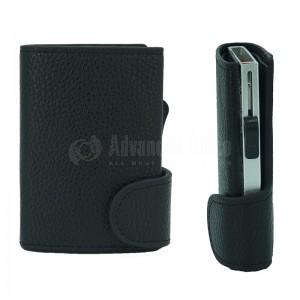 Porte carte magnétique à mécanisme argenté à couverture Multi pochettes fermeture bouton en simili cuir Noir