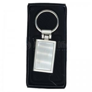 Porte clé métallique rectangulaire argent à contour