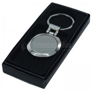 Porte clé métallique rond argent Contour chromé