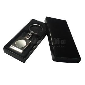 Porte clés métallique argent chromé