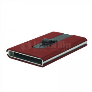 Porte carte magnétique à mécanisme bouton poussoir argenté à couverture plastique Rouge  -  Advanced Office Algérie