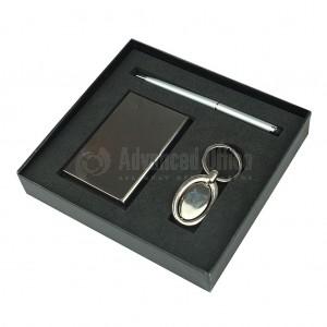 Coffret 3 pièce (stylo Luxe Métal, porte carte visite et Porte clé chromé)