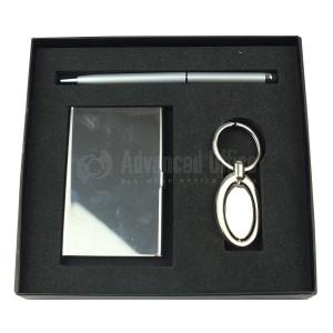 Coffret 3 pièce (Stylo tactile Bleu, Porte carte visite et Porte clé chromé)
