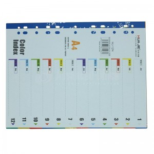 Intercalaire HUA JIE HJ-12N A4, 1-12 couleur en plastique