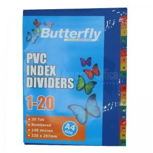 Intercalaire Butterfly HJ-20N A4 225 x 297mm 140mic 1-20 couleur en PVC