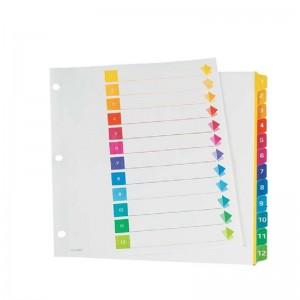 Intercalaire ATLAS 1-12 couleur en plastique