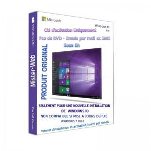 Clé pour Licence Microsoft Windows 10 Pro 64Bits