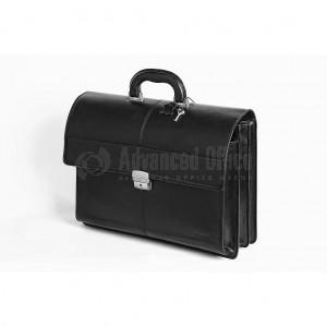 Cartable en véritable cuir VERTEX V6009-1N Noir