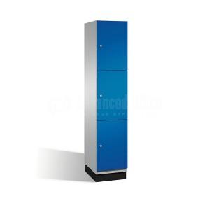 Armoire Vestiaire métallique 3 compartiments , 0.38 x 0.45 x 1.85 m Bleu