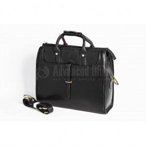 Cartable porte PC en véritable cuir VERTEX  V6037-1N noir