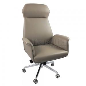 Chaise directionnelle MODUS siège et accoudoirs en simili cuir Beige, Piétement à roulettes Chromés  -  Advanced Office Algérie