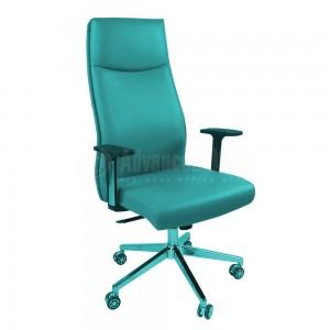 Chaise directionnelle MODUS en simili cuir avec accoudoirs en plastique Gris, Piétements à roulettes métalliques Chromés  -  Advanced Office Algérie