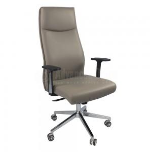 Chaise directionnelle MODUS en simili cuir Beige avec accoudoirs en plastique Noir, Piétements à roulettes métalliques Chromés  -  Advanced Office Algérie