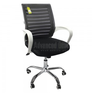 Chaise opérateur MODUS filet siège en tissu Noir avec accoudoirs en plastique Blanc et piétements à roulettes métalliques Chromés  -  Advanced Office Algérie
