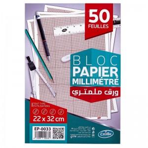 Pochette de papier millimétrique EXCELLES 22 x 32cm 50 Feuilles