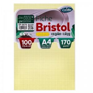 Pochette papier Bristol EXCELLES quadrille 5*5 A4 170g 100 Feuilles Jaune  -  Advanced Office Algérie