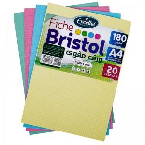 Pochette papier Bristol EXCELLES quadrille 5*5 A4 170g 20 Feuilles Multi couleur  -  Advanced Office Algérie