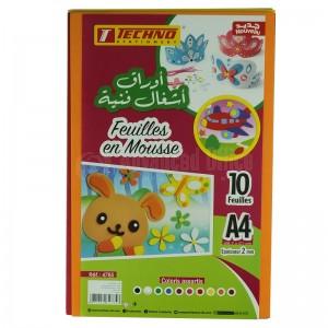 Paquet de 10 Feuilles en mousse TECHNO A4 Multi-couleurs
