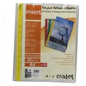 Paquet de 100 Pochette perforée CRISTAL 35 microns transparente Bande Couleurs