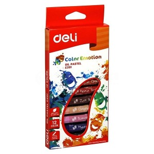Boite de 12 Crayons de cire à huile DELI C201 00 Color Emotion Oil Pastel PM