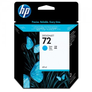 Cartouche HP 72 Cyan 69ml pour Designjet T1100/T1200/T1300/T610/T620/T770/T790/T795