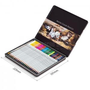 Boite métallique de 24 Crayons Aquarelle professionn0el DELI Water Color Pencils  + Pinceau