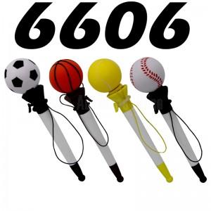 Stylo à balle YAMPAP Toy Pop Pens en plastique, tête forme Ballon Foot, Basket, Tennis Baseball éjectable via bouton, Blanc
