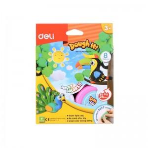 Boite de 8 pots de Pâte à Modeler DELI Doughit Soft Clay D850 20 Bright Colors, 15g/pot, Multi fluorescente avec Dépliant