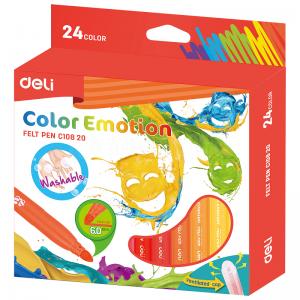 Boite de 24 Stylos Feutres scolaire DELI Color Emotion C108 20, Pointe 6.0mm, Lavable