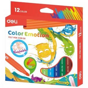 Boite de 12 Stylos Feutres scolaire DELI Color Emotion C108 00, Pointe 6.0mm, Lavable