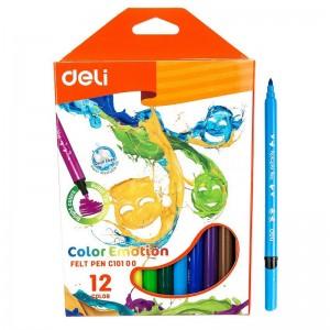 Boite de 12 Stylos Feutres scolaire DELI Color Emotion C101 00, Pointe 1.0mm, Lavable