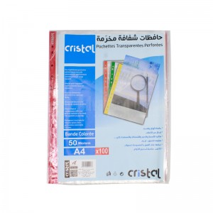 Paquet de 100 Pochette perforée CRISTAL 50 microns transparente Bande Multi-couleurs