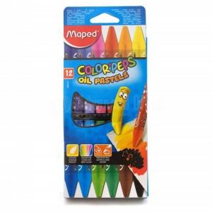 Boite de 12 Craies Pastel à l'huile MAPED Color'peps, triangulaires 5.9mm