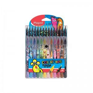 Kit de coloriage MAPED Color'Peps Monster, 27 pièces 12 Feutres 15 Crayon de couleurs en Pochette à bouton transparent