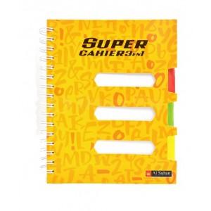 Registre AL SULTAN Super Cahier 3 en 1, 17x21cm, 3 intercalaires