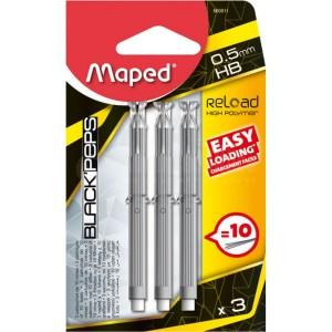 Jeu 3 cartouches de 10 Mines MAPED Black' Peps Fin HB 0.5mm sous Blister
