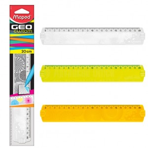 Règle scolaire plate de 20 cm MAPED GeoCustom en plastique, Multi-couleurs