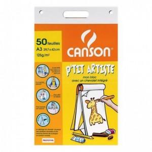 Bloc de papier CANSON chevalet de 50 feuilles A3 29.7 x 42 cm 125g