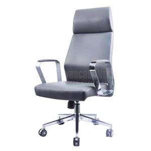 Chaise directionnelle MODUS en cuir Noir avec accoudoirs et piétement métalliques Chromés