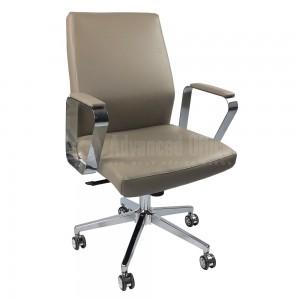 Chaise opérateur MODUS en simili cuir Beige avec accoudoir et Piétement Chromé