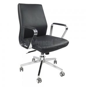 Chaise opérateur MODUS en simili cuir Noir avec accoudoir et Piétement Chromé