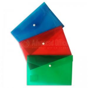 Pochette enveloppe à bouton PP C5 180 x 260mm en plastique Transparent Couleur (Rouge/ Bleu/ Vert)