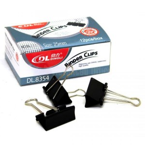 Binder clips DINGLI 25 mm boite de 12 pcs